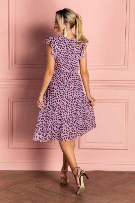Μίντι Ροζ Κρουαζέ Φόρεμα Heidy 8088