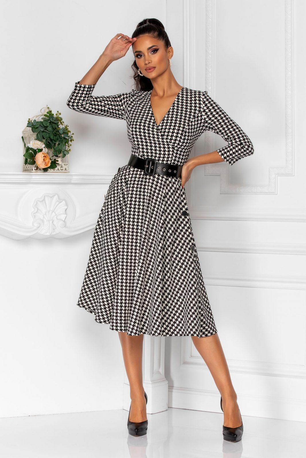 Καρό Ασπρόμαυρο Φόρεμα Με Ζώνη Taylor 8324