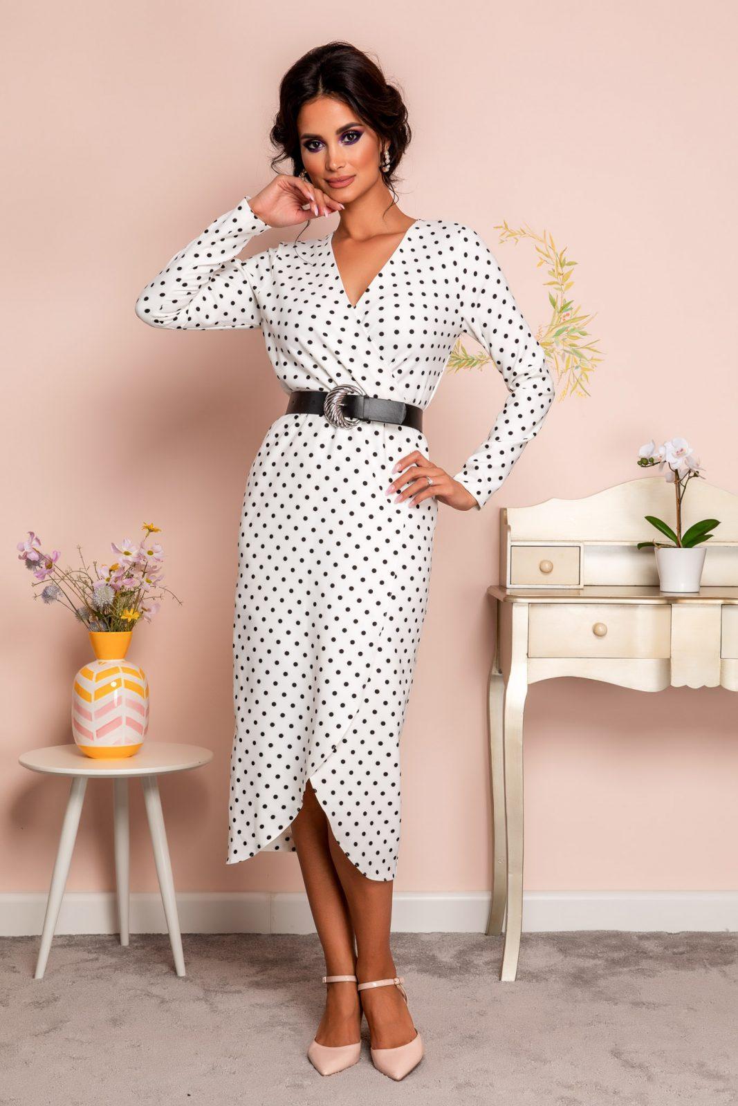 Λευκό Πουά Φόρεμα Με Ζώνη Tabitha 8262