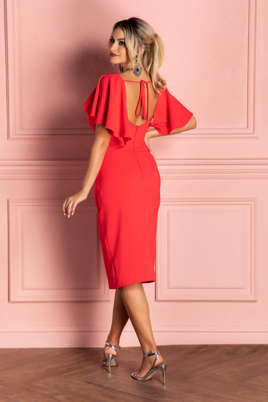 Μίντι Κοραλί Φόρεμα Με Βολάν Gladys 8098