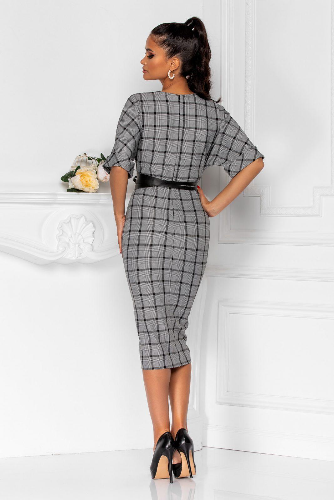 Γκρι Καρό Φόρεμα Με Ζώνη Brenda 8331 1