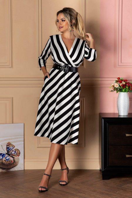 Λευκό Μίντι Ριγέ Φόρεμα Με Ζώνη Zaira 8081