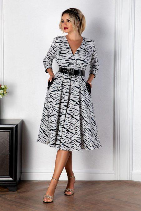 Ασπρόμαυρο Φόρεμα Με Τσέπες Zeba 8129