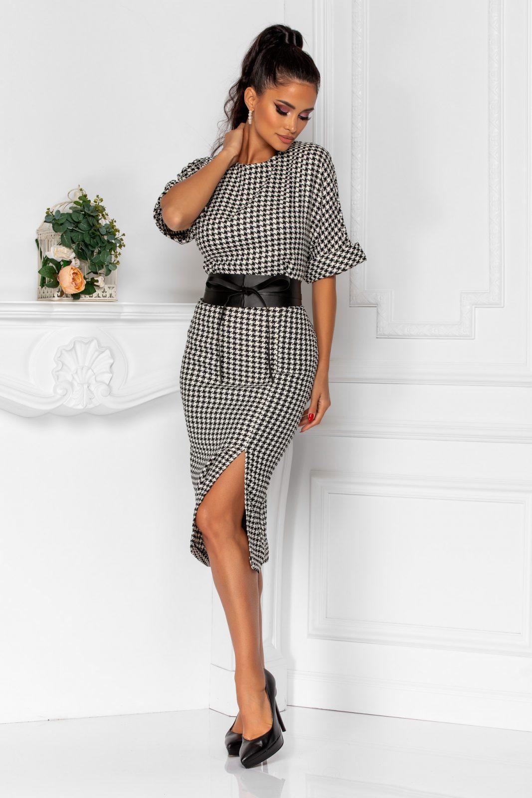 Ασπρόμαυρο Καρό Φόρεμα Με Ζώνη Brenda 8330 2