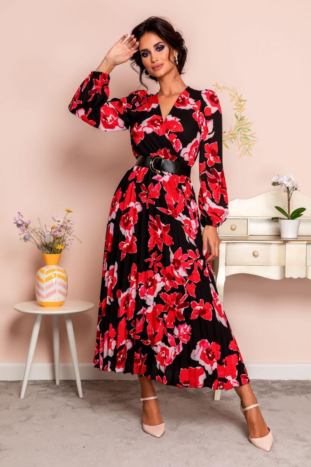 Malina Black Floral Dress