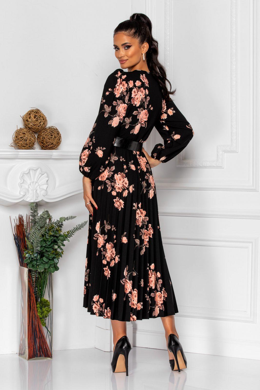 Μαύρο Φλοράλ Πλισέ Φόρεμα Janine 8354 1