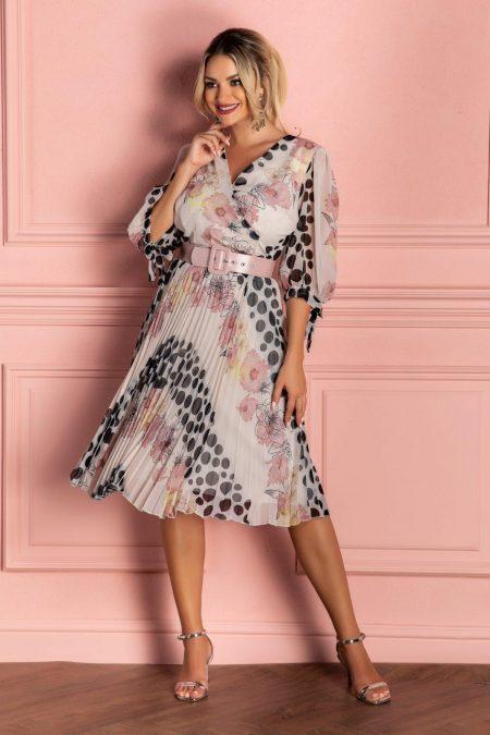 Ροζ Πλισέ Φόρεμα Με Ζώνη Dorothy 8121
