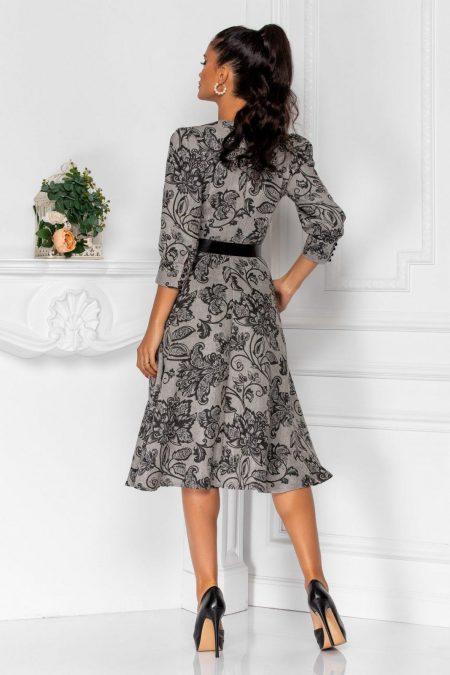 Μίντι Γκρι Φόρεμα Με Ζώνη Rowa 8351