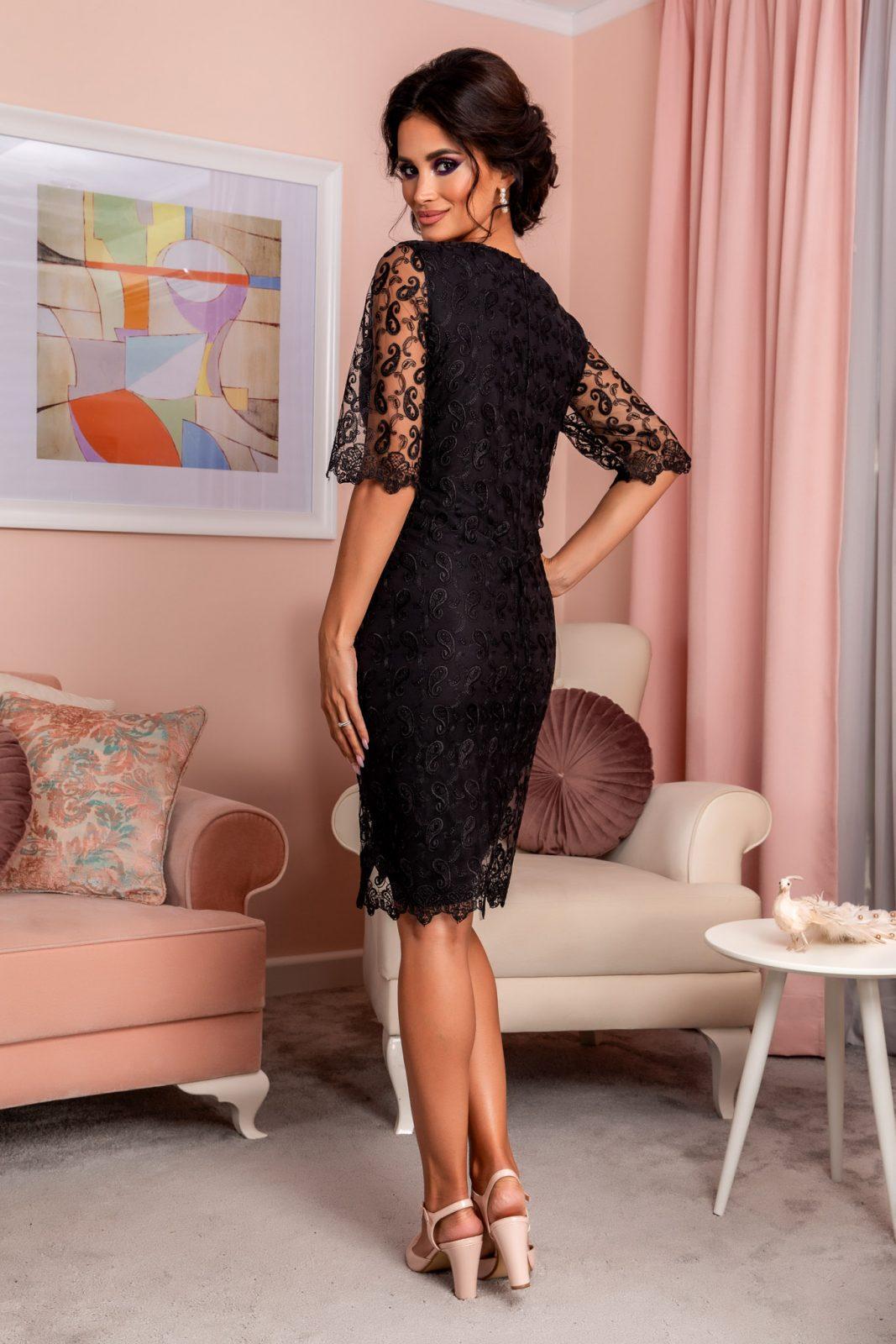 Μαύρο Βραδινό Φόρεμα Από Δαντέλα Emilly 8253