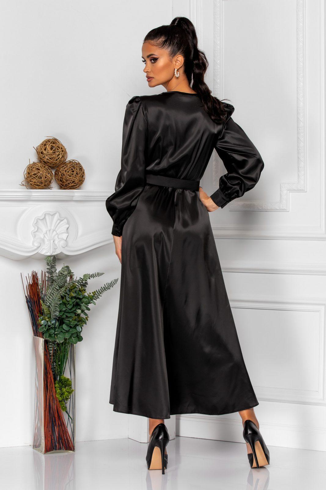 Μαύρο Σατέν Φόρεμα Clotilde 8359