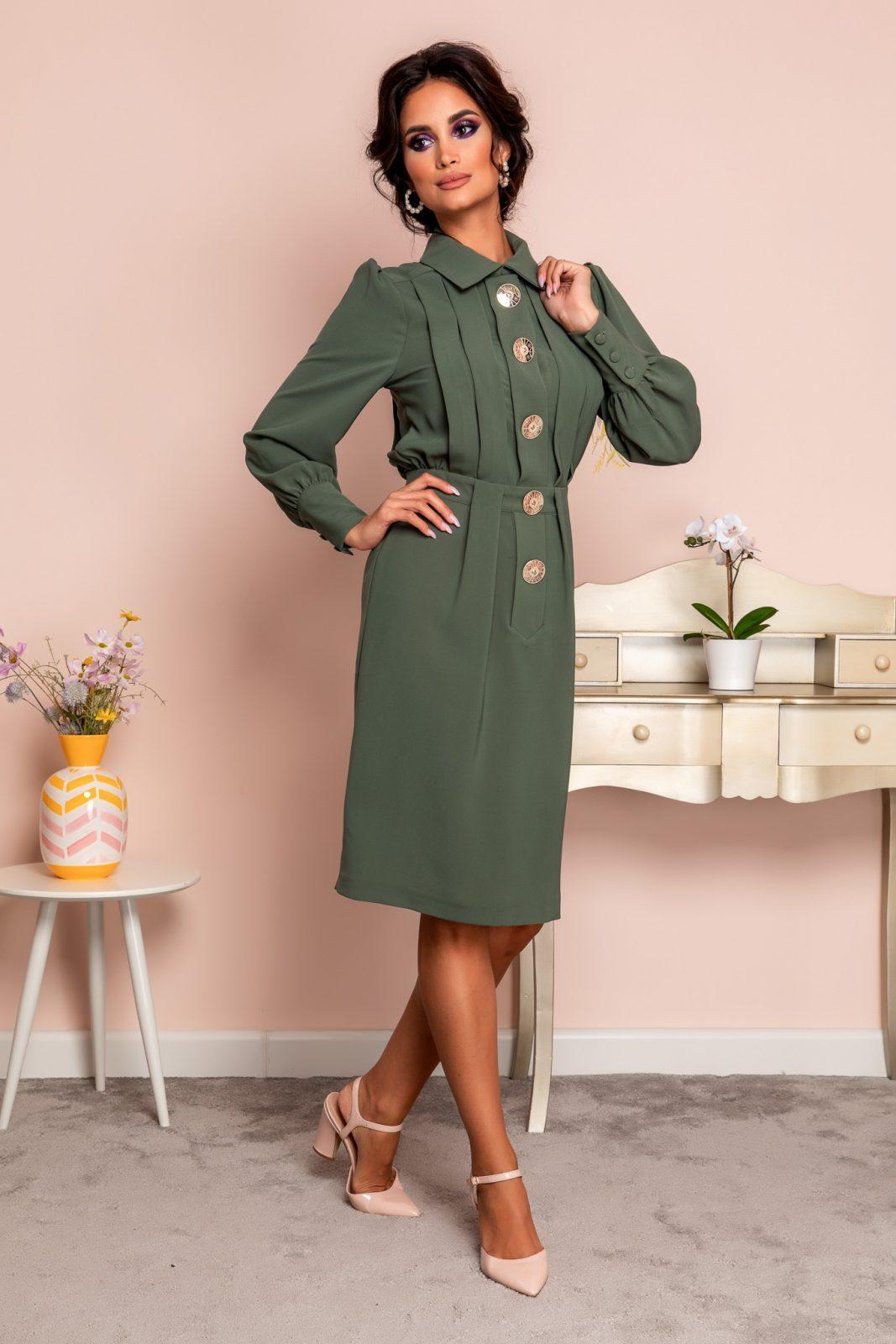 Πράσινο Φόρεμα Με Κουμπιά Ornella 8231