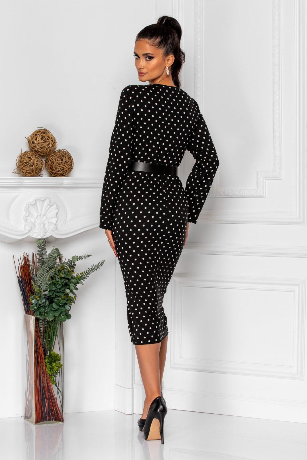 Μαύρο Πουά Κρουαζέ Φόρεμα Tabitha 8295