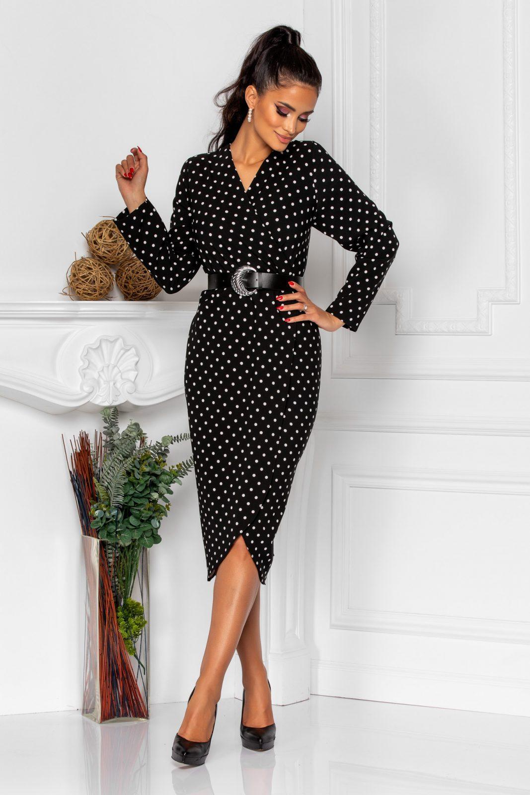 Μαύρο Πουά Κρουαζέ Φόρεμα Tabitha 8295 2