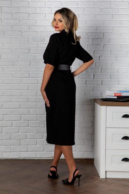 Μαύρο Μίντι Φόρεμα Onda 8134