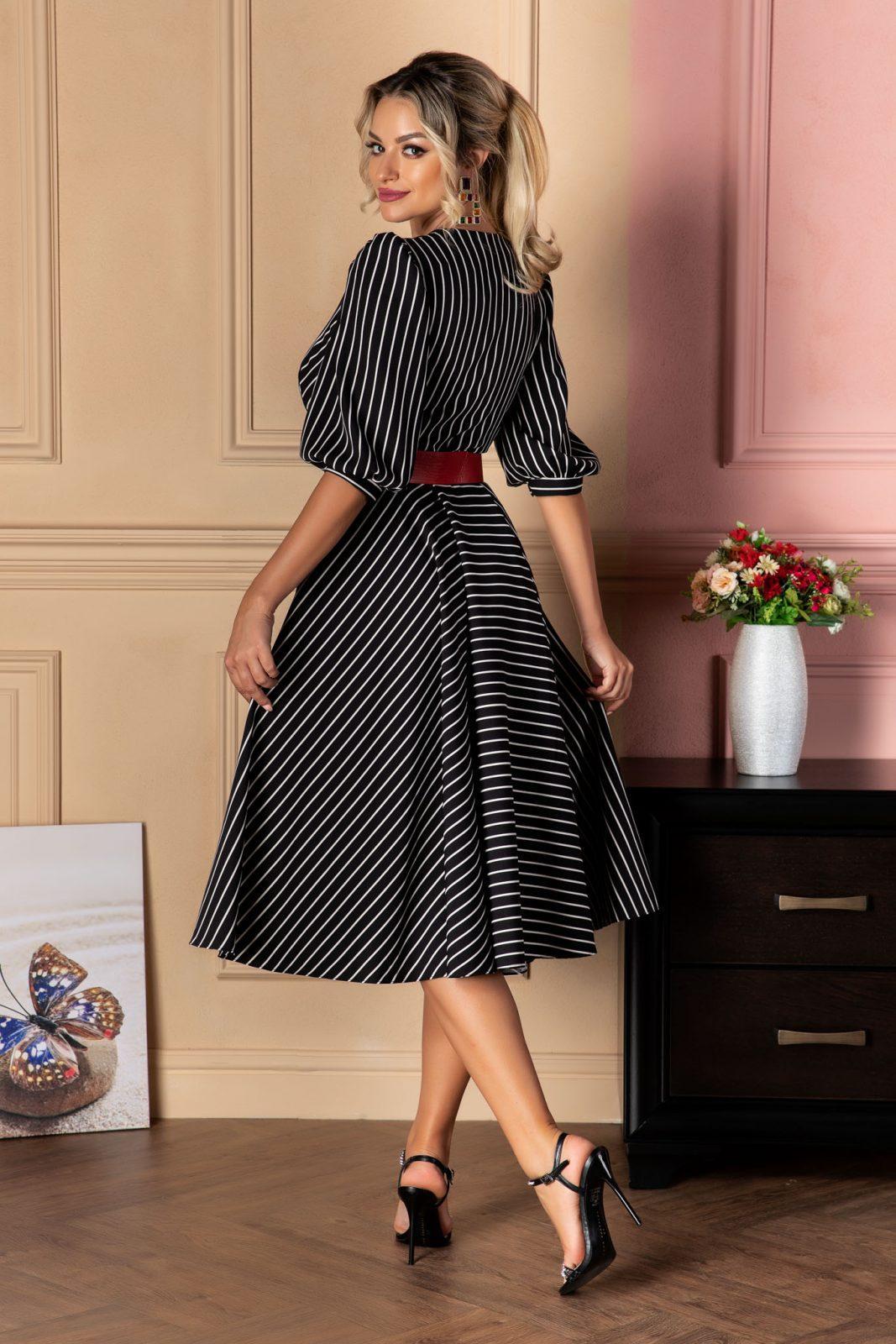 Μαύρο Μίντι Ριγέ Φόρεμα Με Ζώνη Renata 8077 1