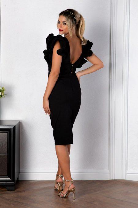Μαύρο Μίντι Βραδινό Φόρεμα Zya 8164