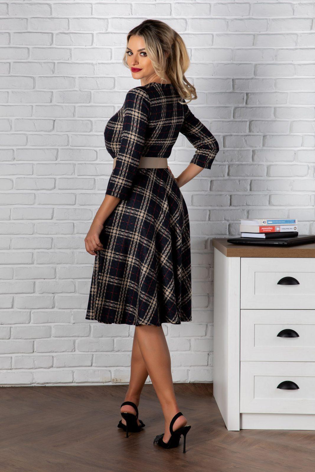 Μαύρο Καρό Φόρεμα Samara 8162