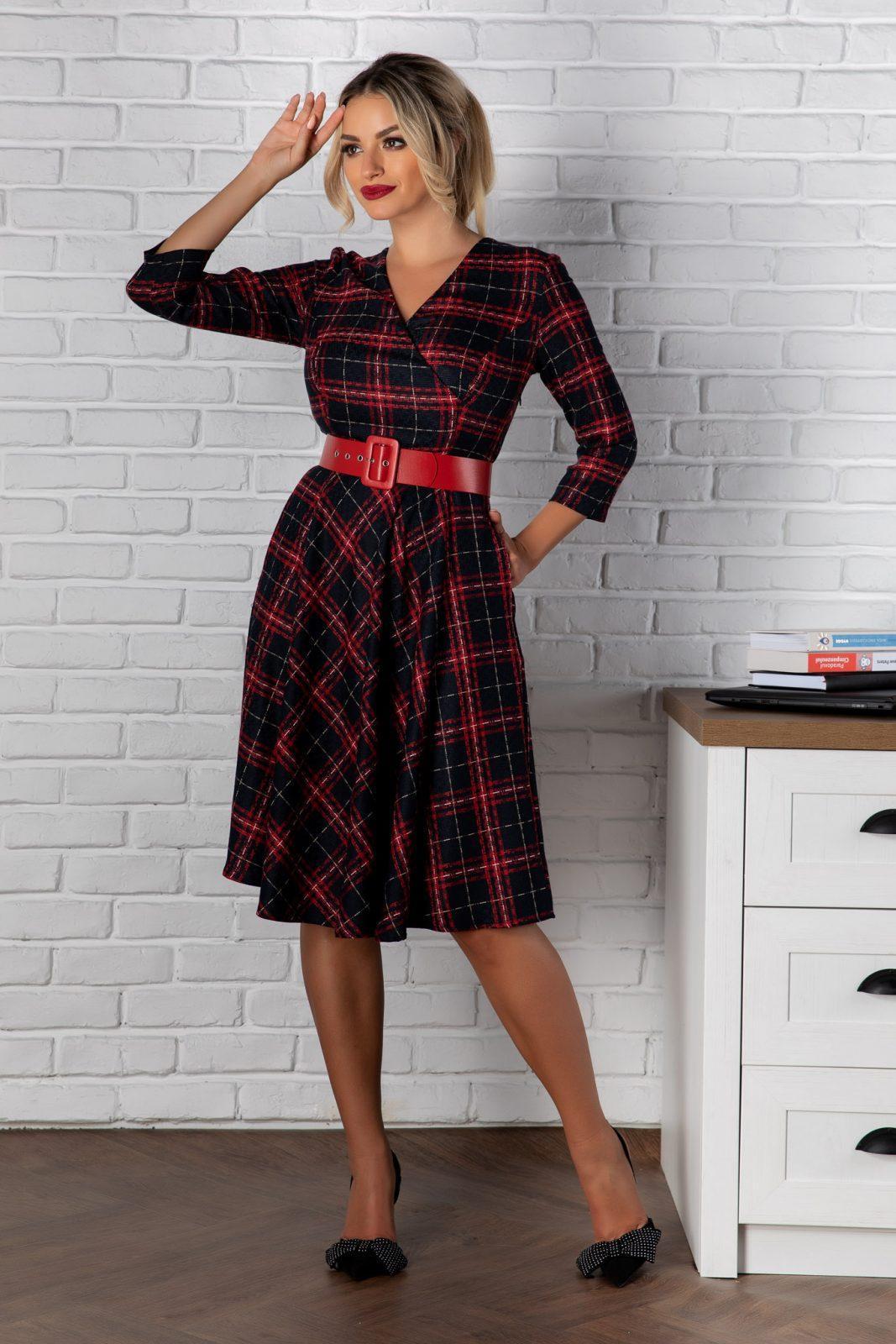 Κόκκινο Καρό Φόρεμα Samara 8161