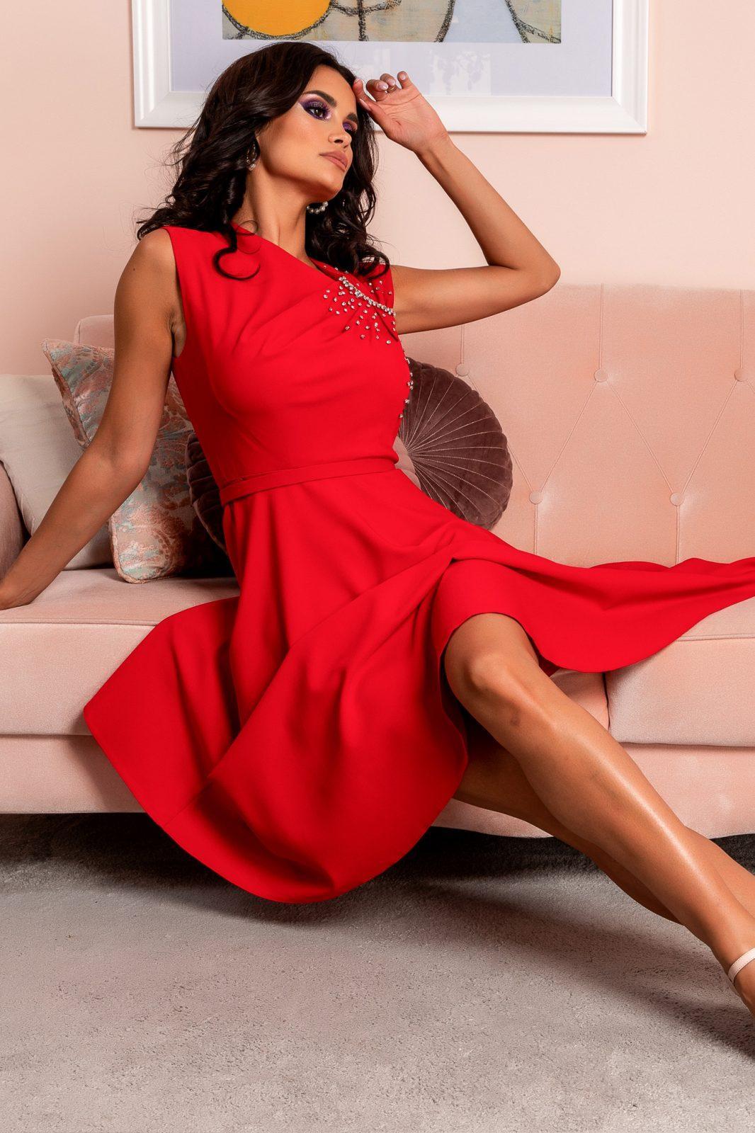 Κόκκινο Αμάνικο Βραδινό Φόρεμα Oxana 8082