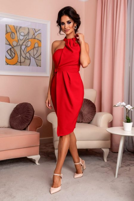 Κόκκινο Μίντι Φόρεμα Martina 8109