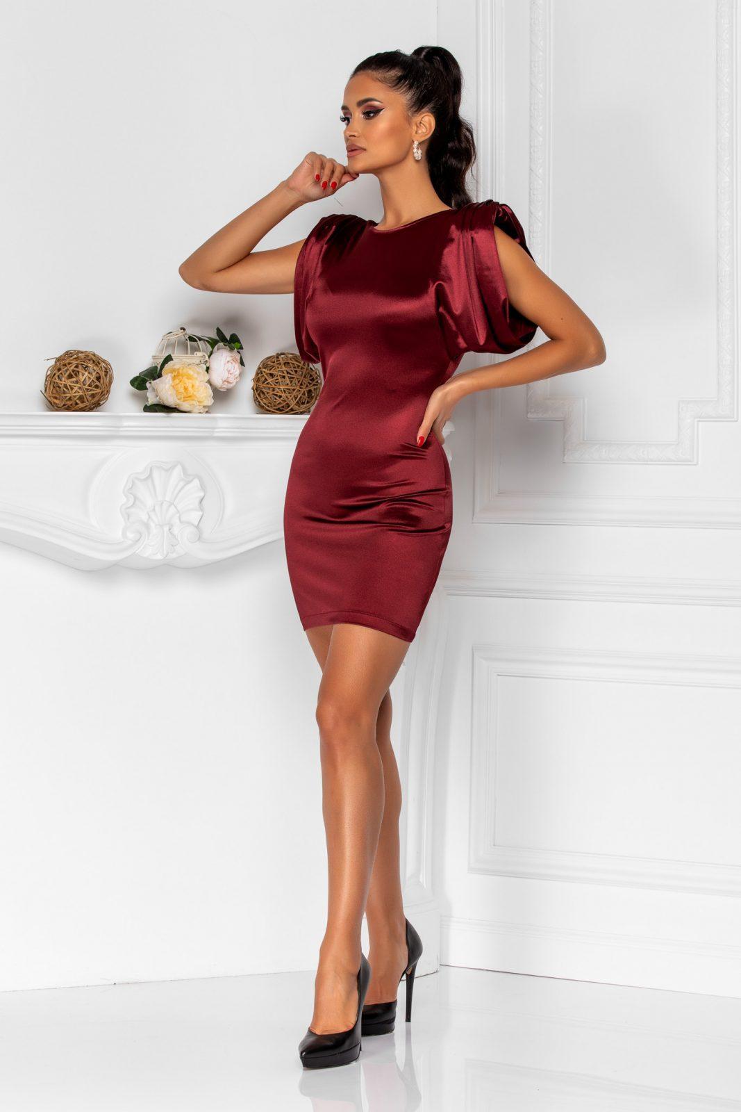 Μίνι Μπορντό Φόρεμα Με Βάτες Sensy 8376