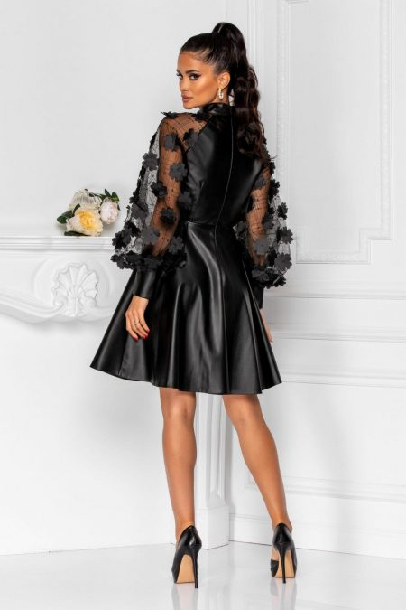 Δερμάτινο Φόρεμα Με Φουσκωτά Μανίκια Claudine 8282