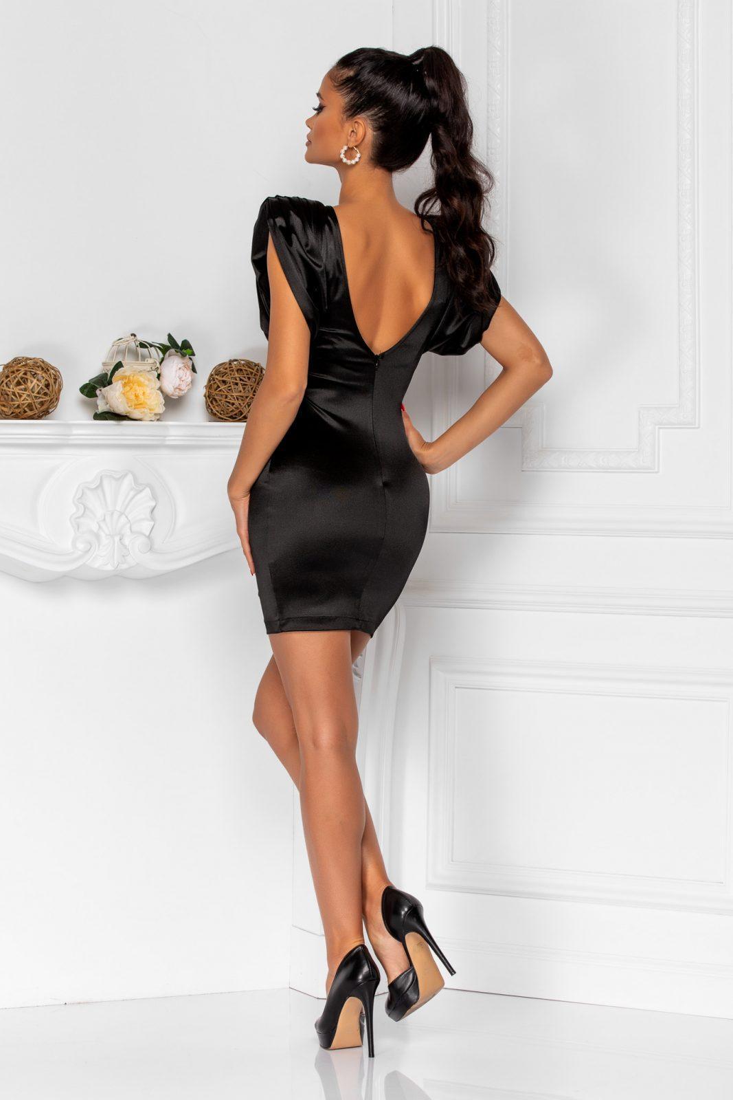 Μίνι Μαύρο Φόρεμα Με Βάτες Sensy 8375