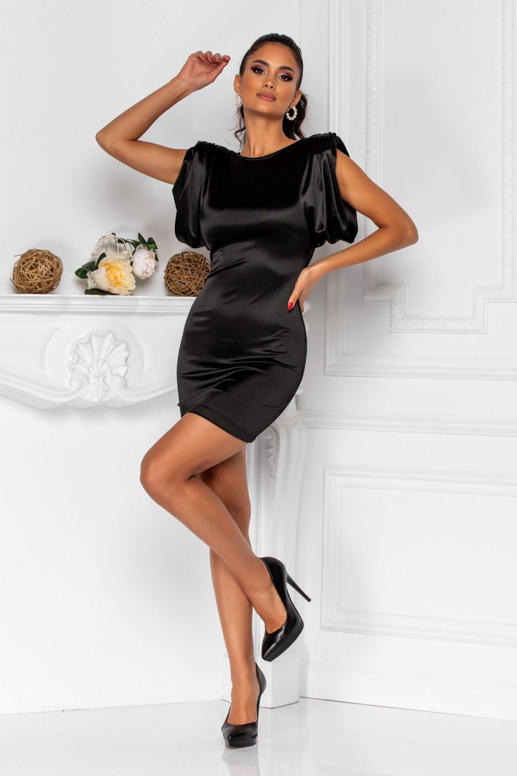 Μίνι Μαύρο Φόρεμα Με Βάτες Sensy 8375 2
