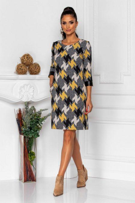 Καθημερινό Φόρεμα Με Κίτρινα Κουμπιά Brianna 8328