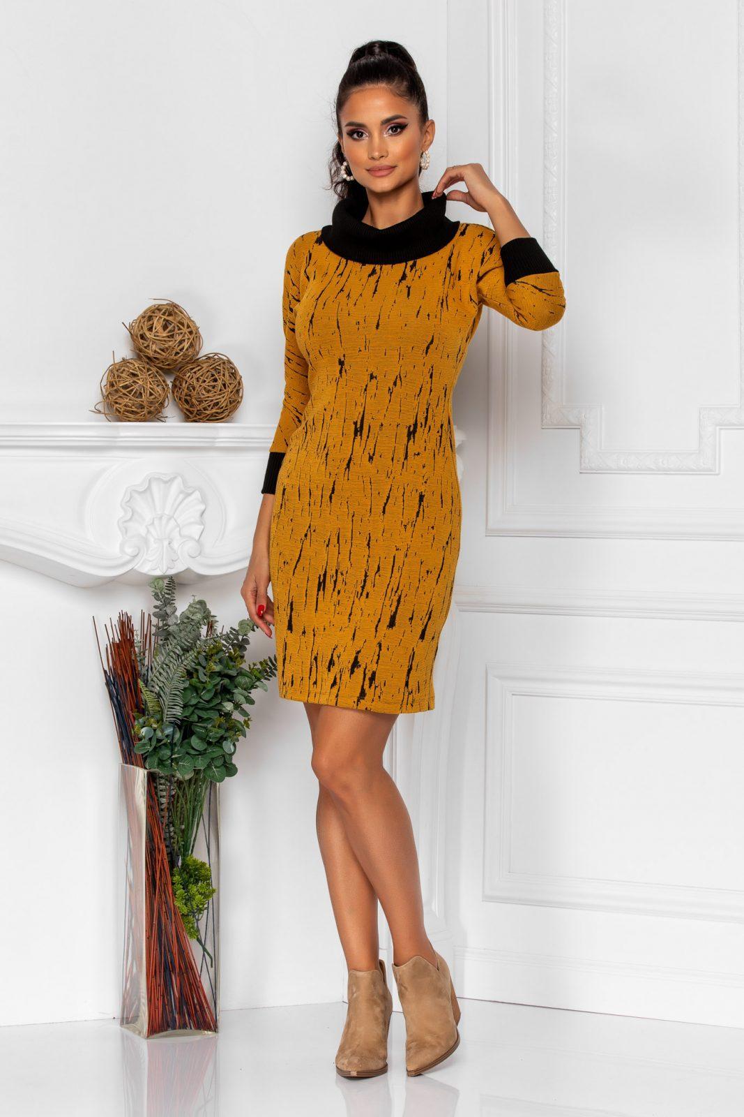Μουσταρδί Φόρεμα Jana 8389 2