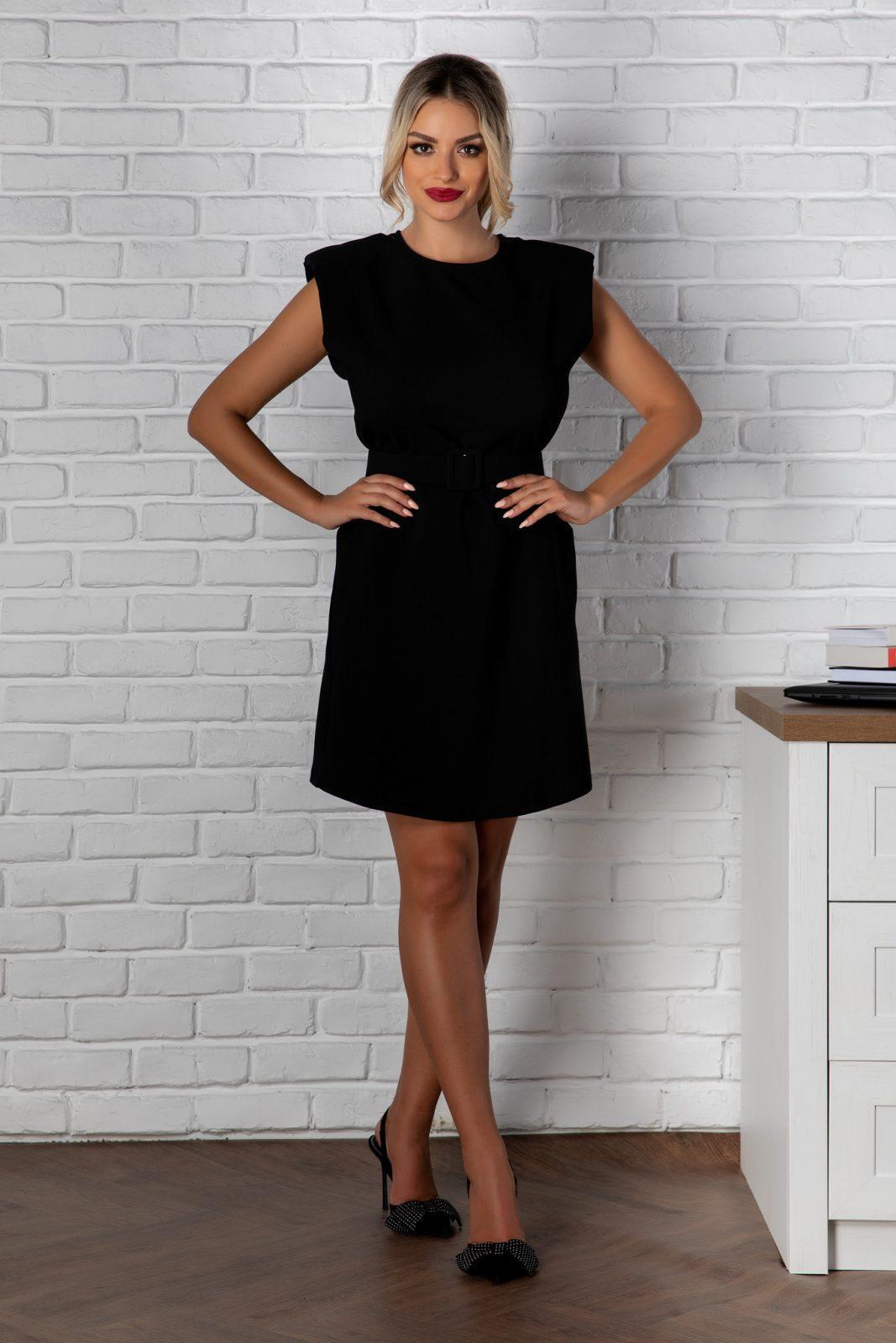 Μαύρο Φόρεμα Με Βάτες Tulya 8147