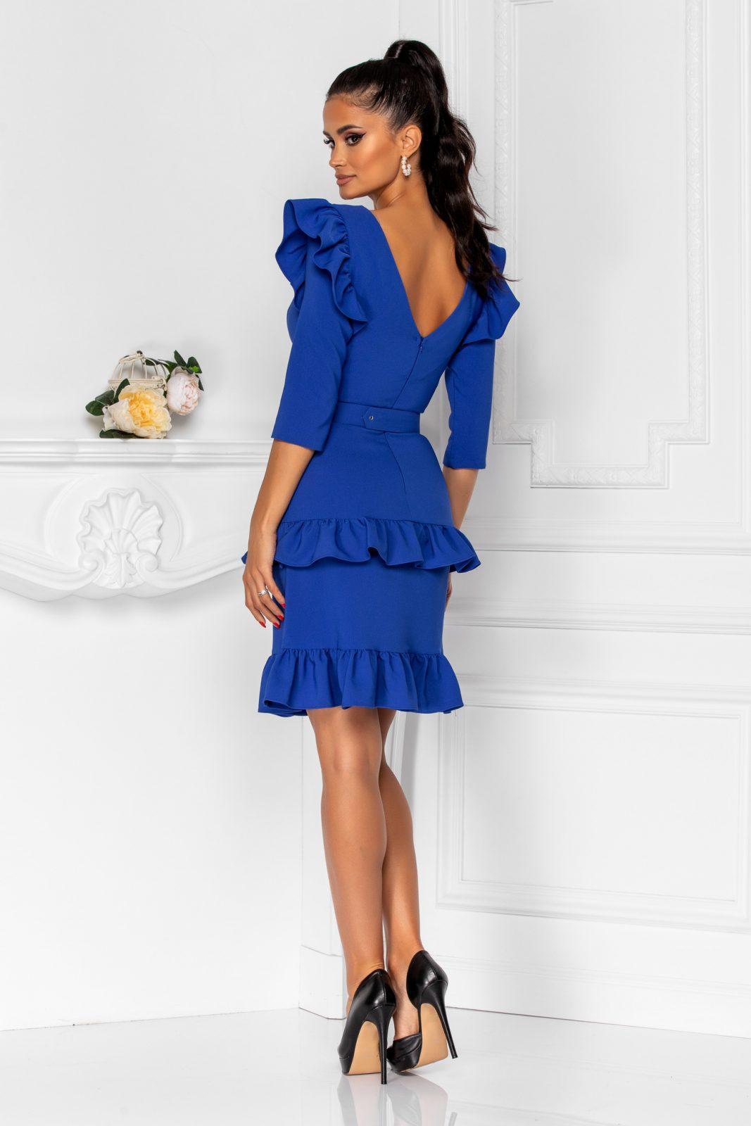 Μπλε Φόρεμα Με Βολάν Joleen 8362 1
