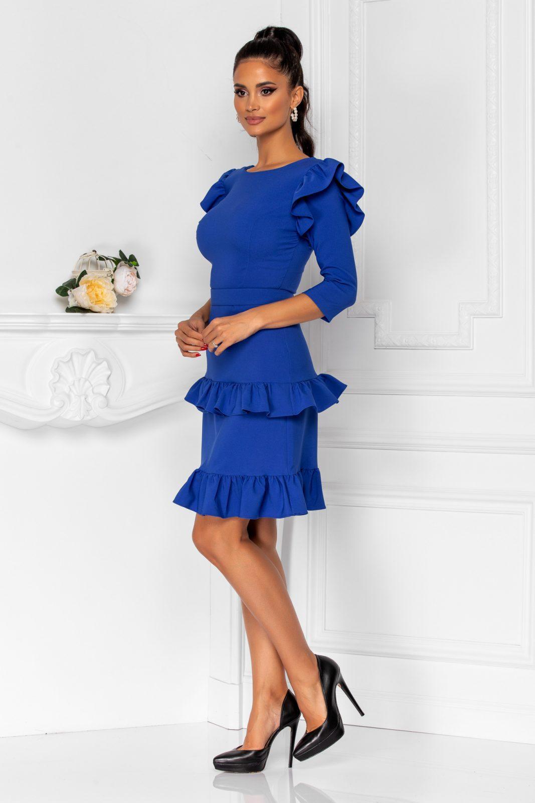Μπλε Φόρεμα Με Βολάν Joleen 8362 2