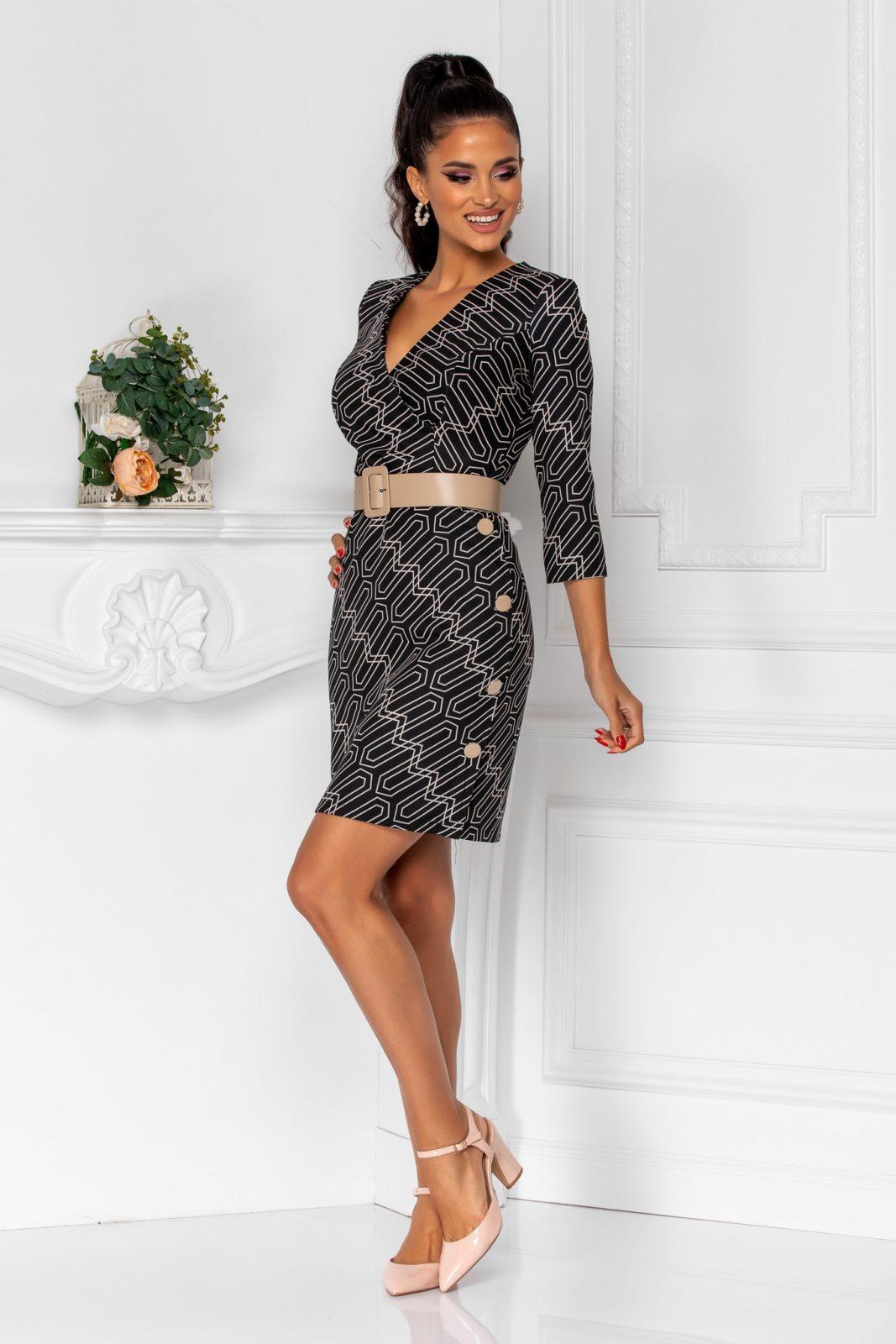 Μαύρο Κρουαζέ Φόρεμα Με Κουμπιά Berta 8327