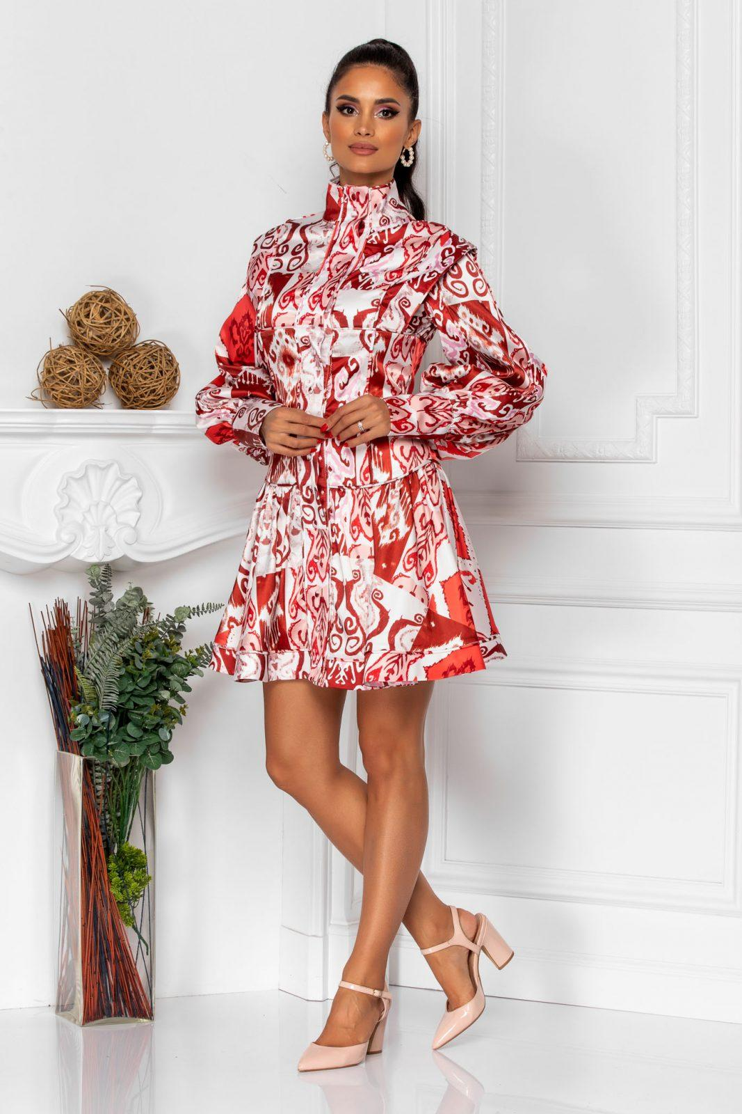 Μίνι Κεραμιδί Σατέν Φόρεμα Με Μανίκι Sandra 8302