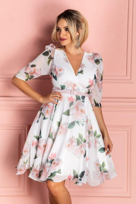 Magda White Floral Dress