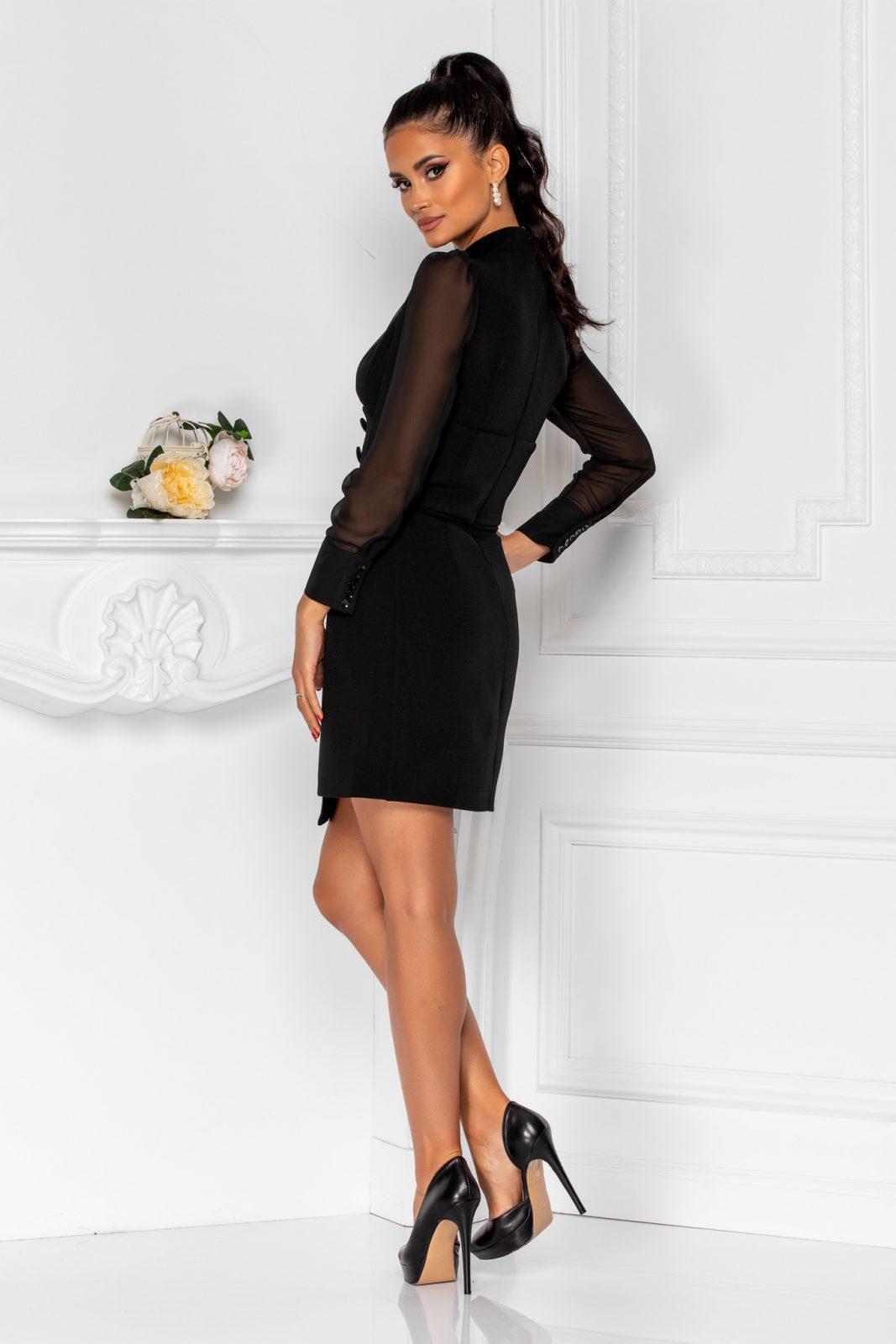 Μαύρο Φόρεμα Με Μακριά Μανίκια Και Μανσέτες Silvie 8283