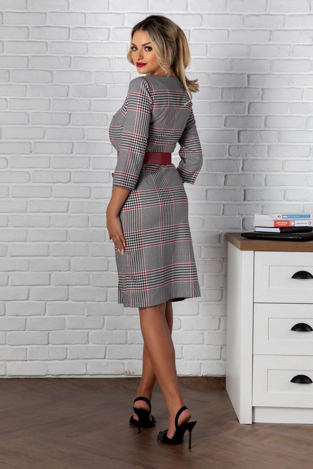 Γκρι Καρό Φόρεμα Με Κόκκινη Ζώνη Olivia 8154