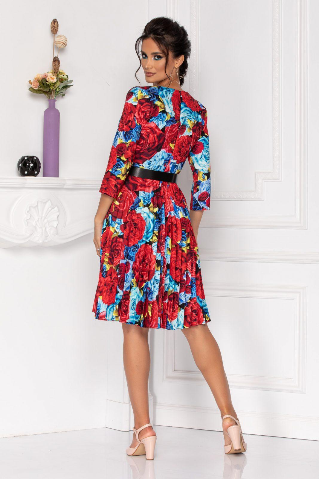 Πλισέ Φλοράλ Φόρεμα Με Ζώνη Katelyn 8472 2