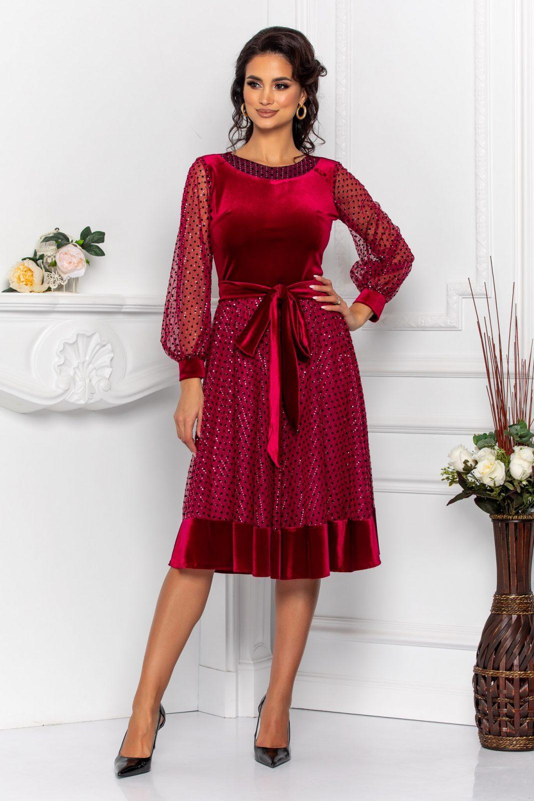 Μπορντό Φόρεμα Βελούδο Με Διαφάνεια Cleo 8556