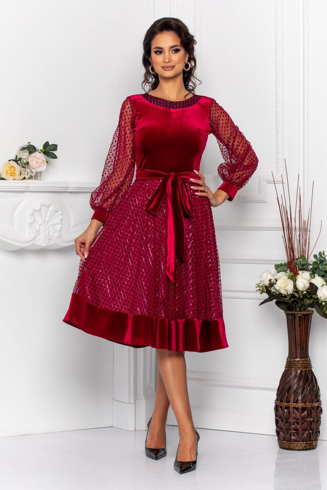 Cleo Burgundy Dress