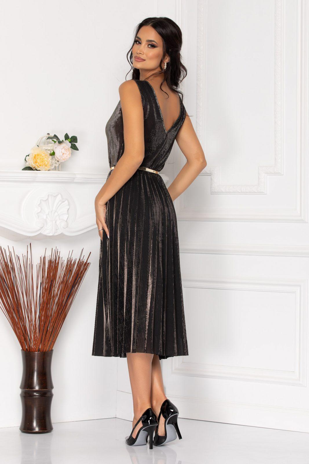 Μίντι Μαύρο Πλισέ Φόρεμα Με Ζώνη Charlene 7975