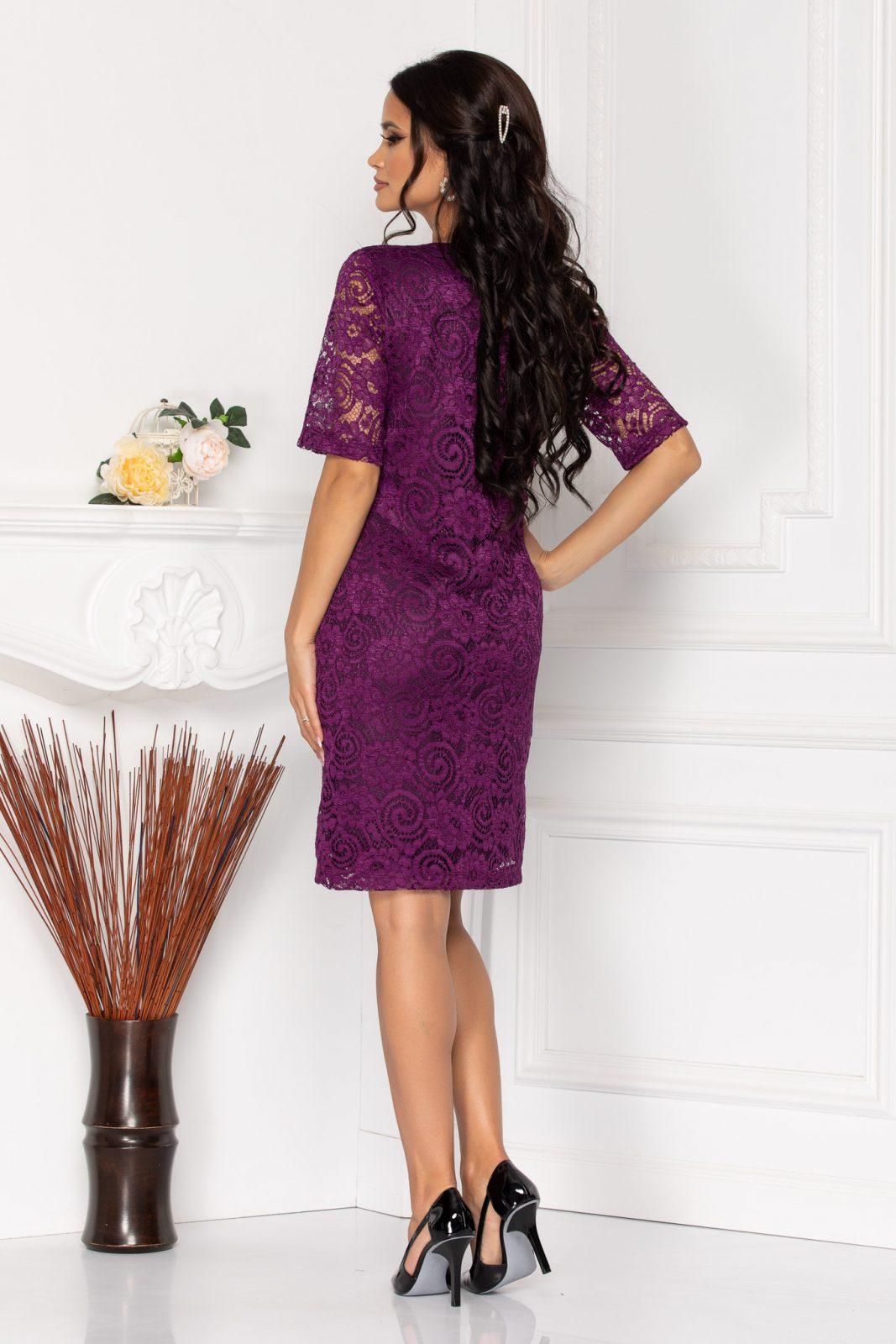 Βιολετί Φόρεμα Από Δαντέλα Glancy 8255 1