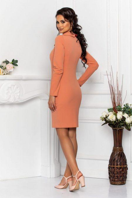 Ροδακινί Φόρεμα Με Γιακά Andira 8569