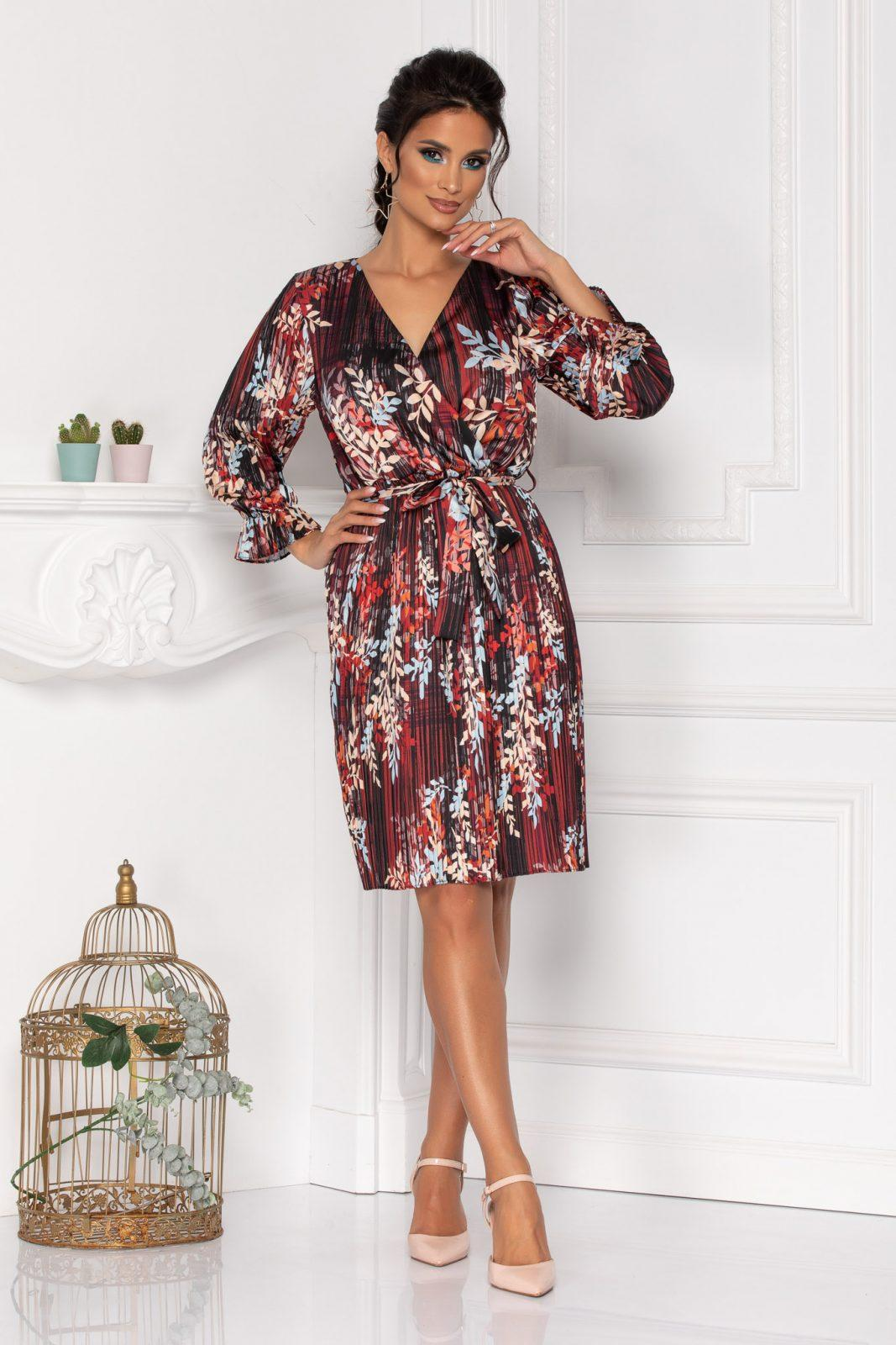 Μπορντό Σατέν Πλισέ Φόρεμα Sidney 8465 1