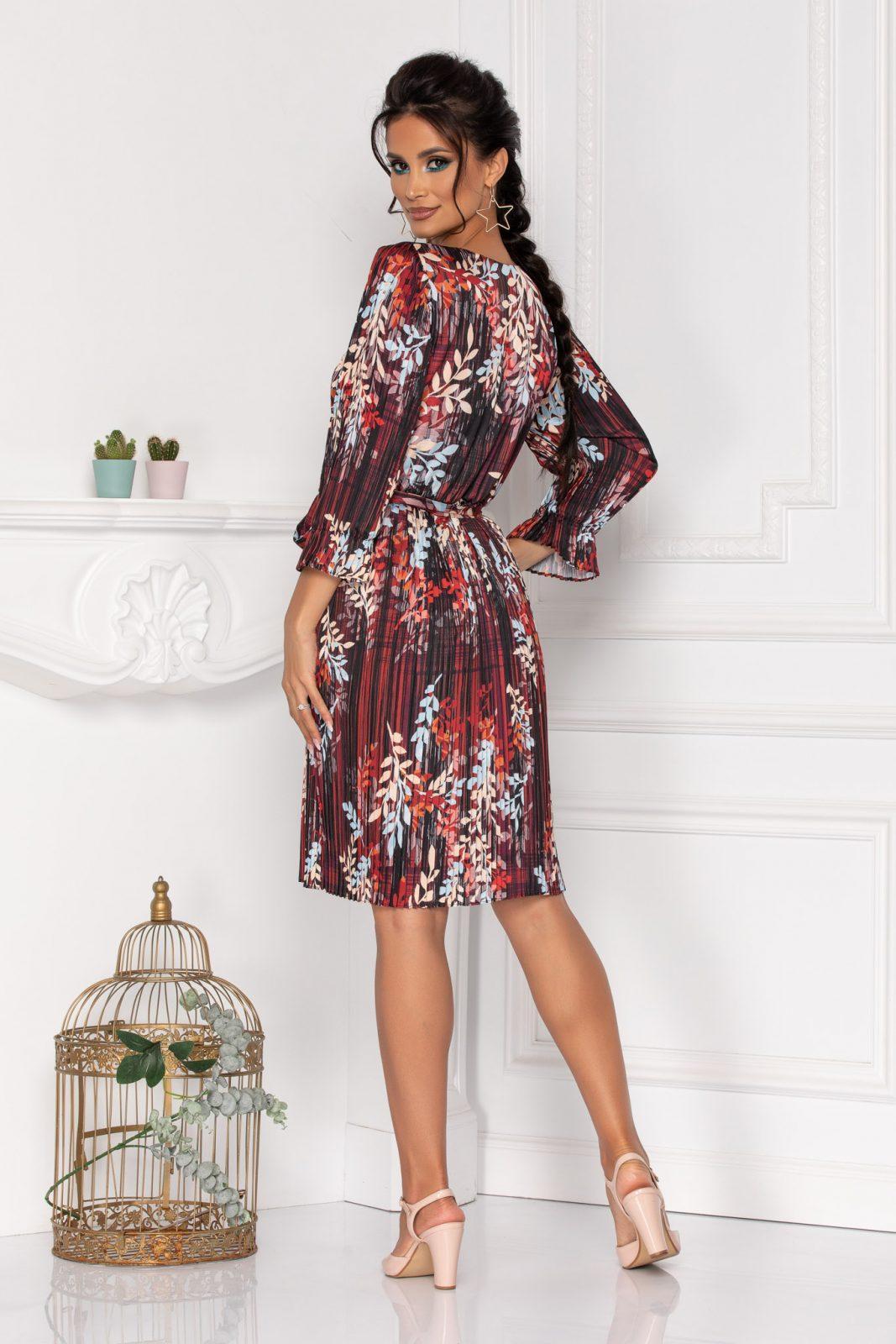 Μπορντό Σατέν Πλισέ Φόρεμα Sidney 8465 2
