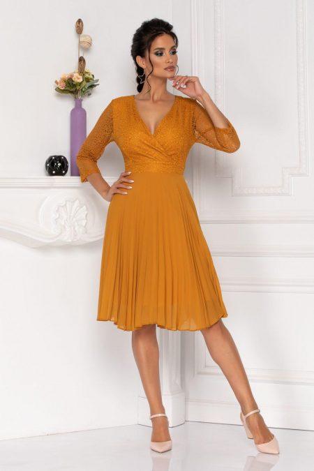 Μουσταρδί Πλισέ Βραδινό Φόρεμα Albertina 8476