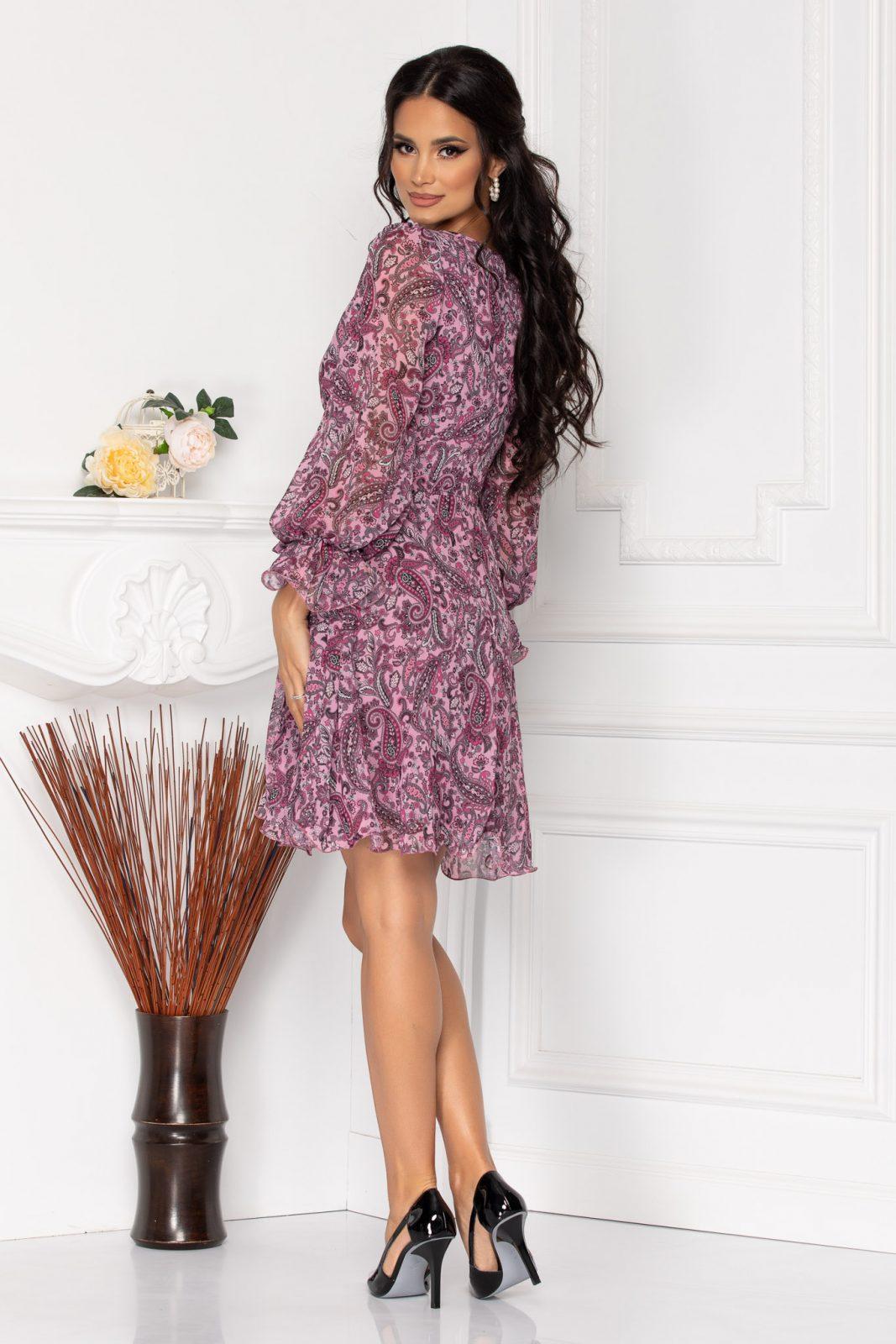 Λιλά Φόρεμα Με Μακριά Μανίκια Simine 8124