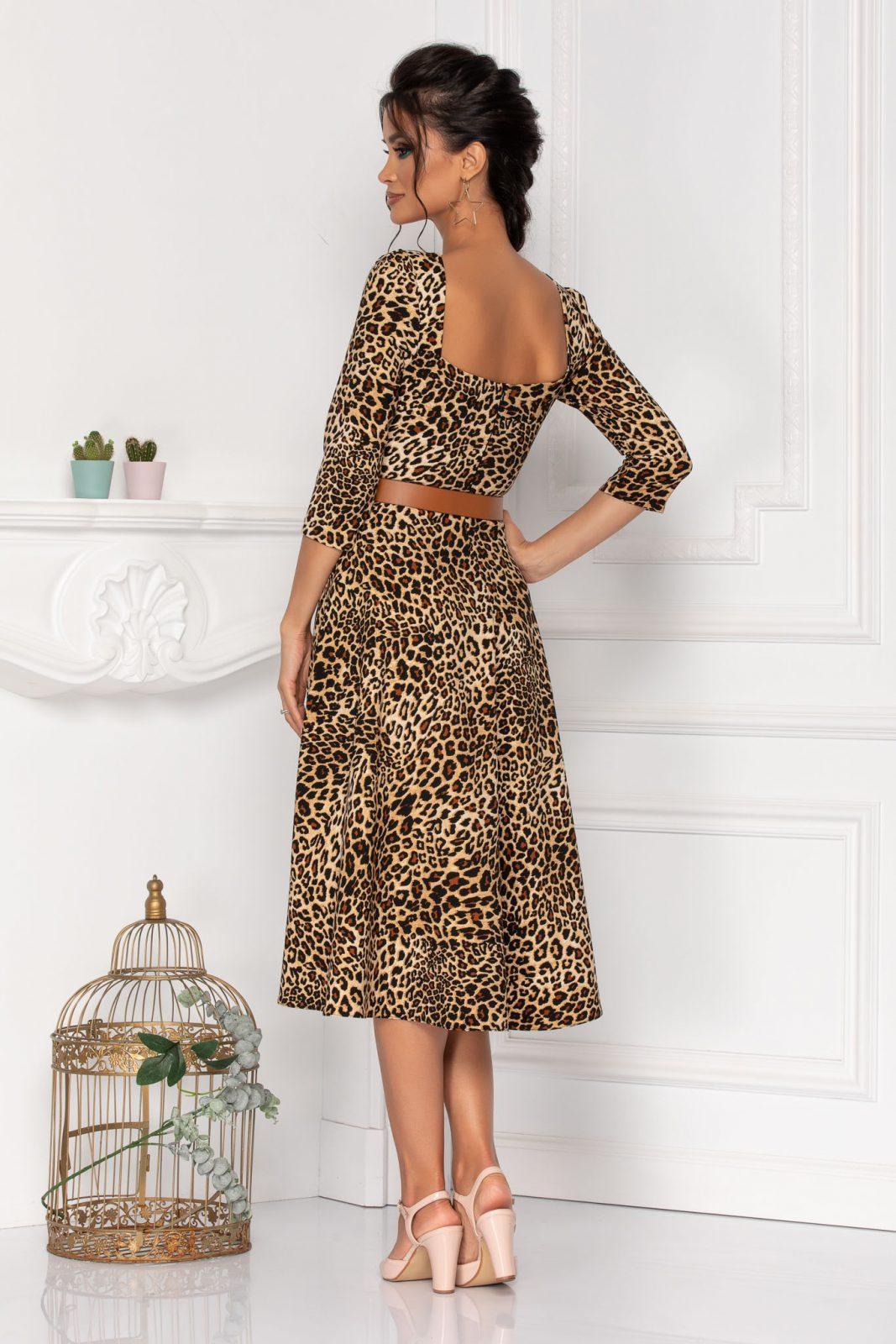 Λεοπάρ Μίντι Φόρεμα Με Ζώνη Hariett 8448 1