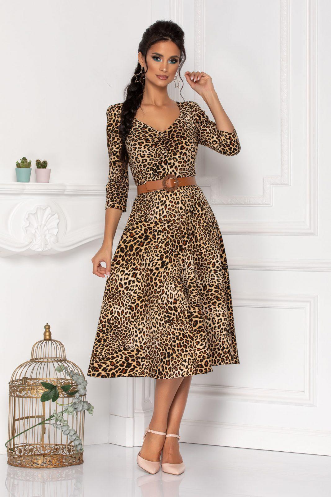 Λεοπάρ Μίντι Φόρεμα Με Ζώνη Hariett 8448 2